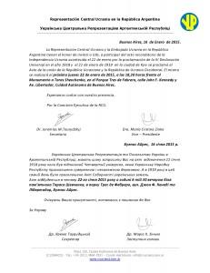 Acto recordatorio de la Independencia Ucrania acontecida el 22 de enero-