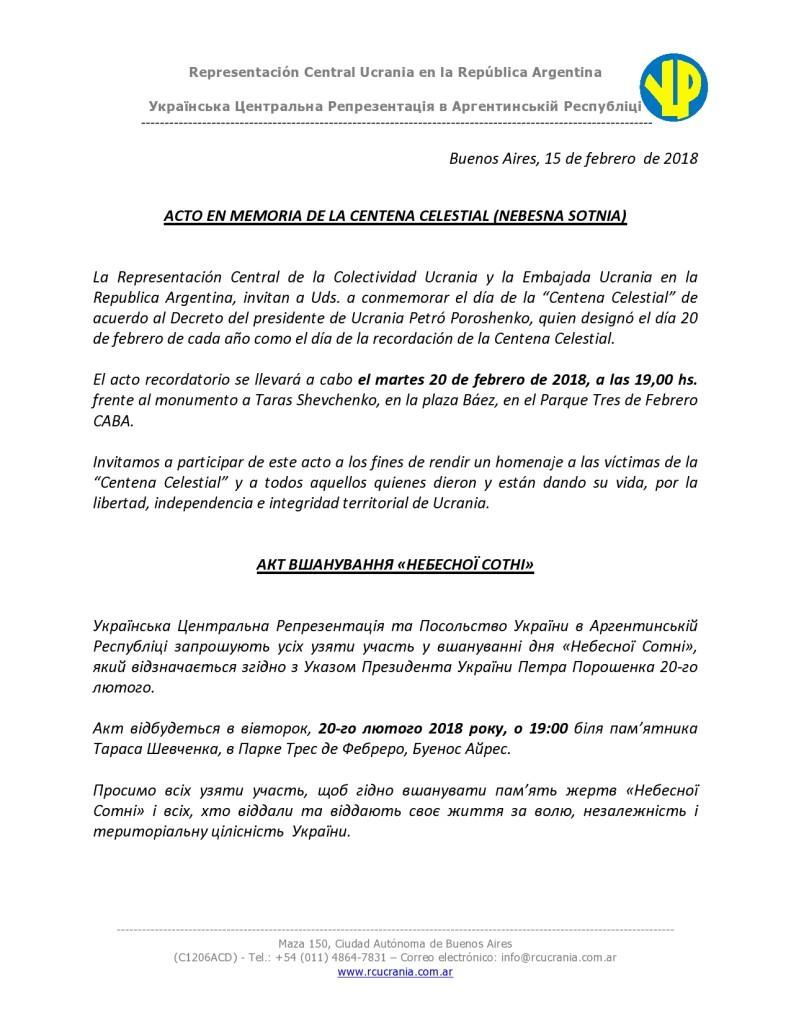 ACTO EN MEMORIA DE LA CENTENA CELESTIAL (NEBESNA SOTNIA)-page0001